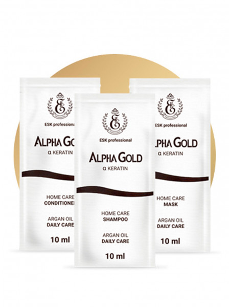 5 комплектов саше Alpha Gold шампунь, кондиционер, маска