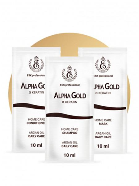 10 комплектов саше Alpha Gold шампунь, кондиционер, маска